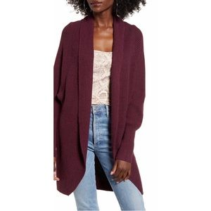 Leith Burgundy Dolman Sleeve Long Cardigan